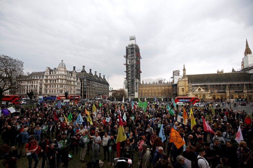 Climate change activists from the Extinction Rebellion protest at the Parliament Square in London, Britain May 1, 2019. REUTERS/Henry Nicholls