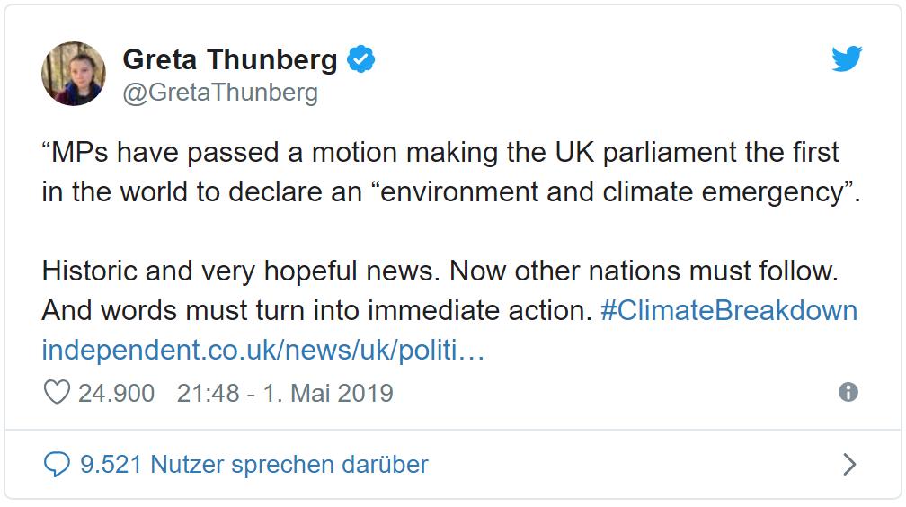 Twitter-Kommentar von Greta Thunberg